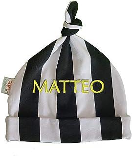 Zigozago - Cappellino con nodo a righe bianco e nere con o senza nome