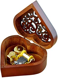ColorSpring Heart Shaped Vintage Wood Carved Mechanism Musical Box for Girls Gift (Canon)