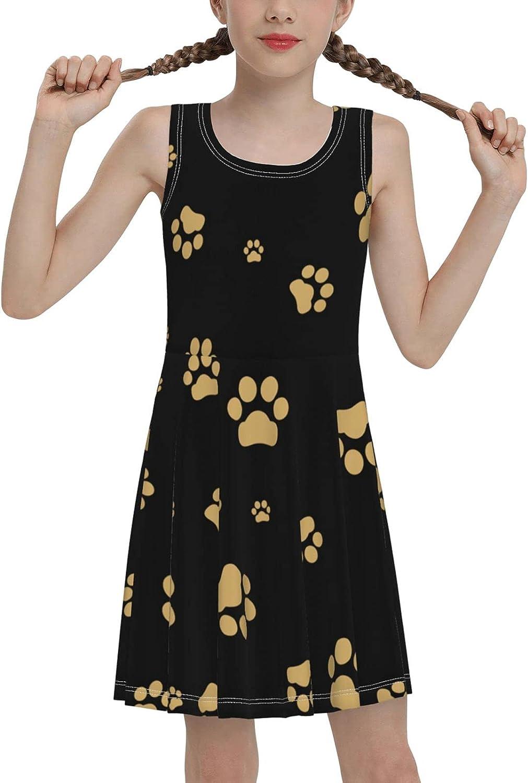 Hionhsw Dogs Different Breeds Girls Sleeveless Dress Teens Casual School Party Beach Sundress 7-16 Years