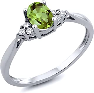 14K White Gold Green Peridot and Diamond Women's Ring 0.56 cttw (Available 5,6,7,8,9)