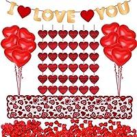 Kit de decoraciones del día de San Valentín 1000 piezas Pétalos de rosas rojas 10 piezas Globos de corazón 6 piezas Guirnalda de corazón Te amo Guirnalda de fieltro Banner Camino de mesa decoración