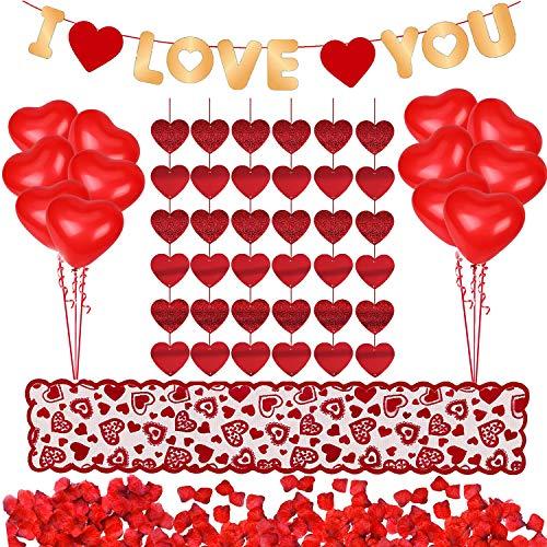 ❤Conjunto de decoración romántica para el día de San Valentín ❤ Encontrarás un total de 1018 piezas, incluyendo 1000 piezas de pétalos de rosas preciosos +10 piezas de globos de corazón + 6 piezas de guirnalda de corazón + 1 pieza de camino de mesa d...