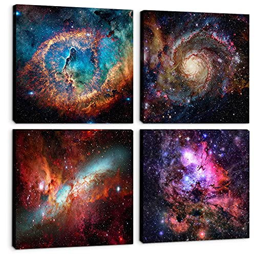 Bedroom Canvas Wall Art Outer Space Decor Posters Nebula Galaxy Starlight...