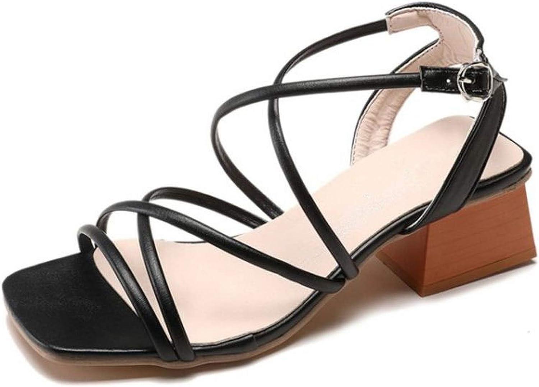 Meiguiyuan Women High Heel Sandals Thick Heels Buckle Open Toe Female Sandals Classic Fashion shoes
