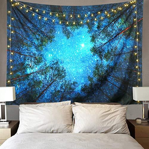 Lomohoo Foresta Arazzo Tapestry Foresta Arazzo da Parete Notte Stellata con Natura Galassia Cielo Blu Grande Telo Indiano Tende Moderne (M/153cm*203cm)