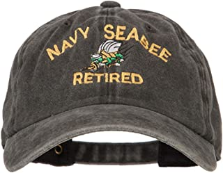 e4Hats.com US Navy Seabee Retired Military Embroidered Washed Cotton Twill Cap