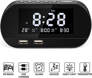 Alarm Clock Radio, Radio Alarm Clock with FM Radio for Bedroom, Digital Alarm Clock with Dual USB Charger Ports Battery Backup Dual Alarms and 6 Alarm Sounds,Dimmer LED Display,Snooze Sleep Timer