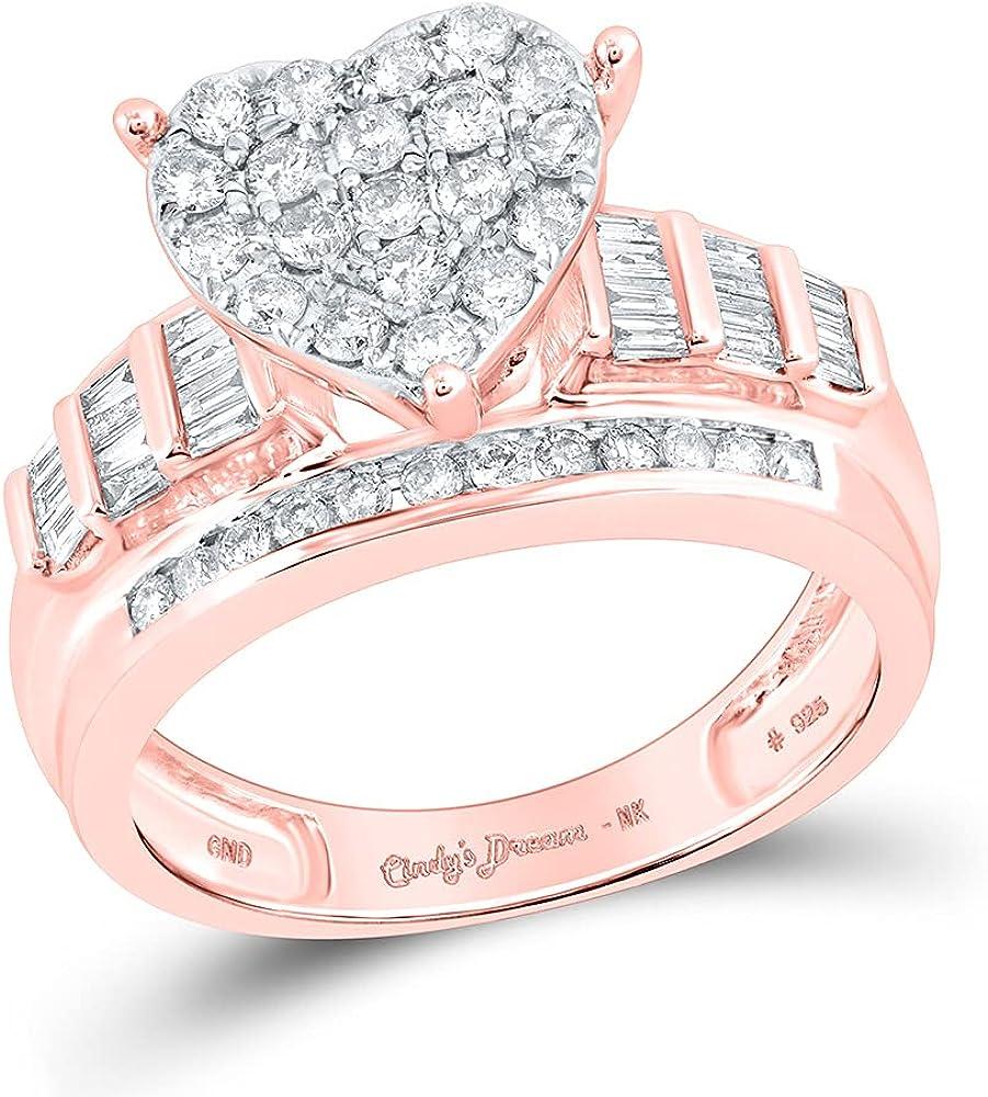 10kt Rose Gold Round Diamond Heart Bridal Wedding Engagement Ring 1 Cttw