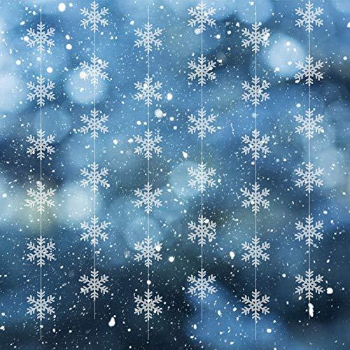 CINMOK 6STK Weihnachten Schneeflocken Deko 197CM Winter Girlande Schneeflockendeko Schnee Garland Weihnacht Banner Ornament Deckendekoration für Eiskönigin Party Xmas Fensterdeko Weihnachtsdeko