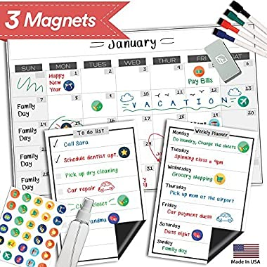 Magnetic Dry Erase Refrigerator Calendar - 17  x 11  - Monthly Weekly Reusable Fridge Meal Planner - Large Whiteboard Kitchen Magnet Chore Chart - Grocery & To Do List - Erasable White Board Bulletin