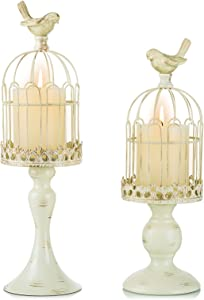 Romadedi Decorative Candle Holder Bird Cage - Set of 2 Cage Lanterns for Candleholder Shabby Chic Country Home Decoration Table Centerpiece Mantel Décor, 13''/16''Tall, Distressed Ivory