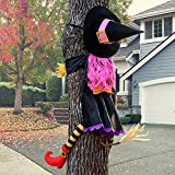 POPGIFTU Large Crashing Witch into Tree Halloween Decoration(51' H), Crashing Witch into Tree, Yard Halloween Crashed Witch Props for Outdoor Halloween Tree Door Porch Party Supplies