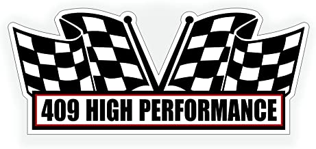 Solar Graphics USA Air Cleaner Sticker Decal - 409 High Performance for V8 Pro Steet, Race, Classic, Crate Motor Muscle Car, Compatible with Chevrolet Chevy - 5x2.25 inch