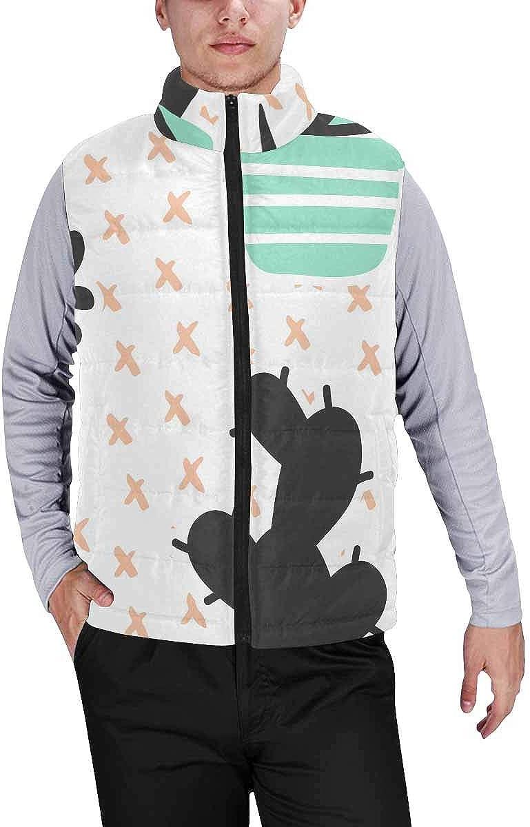 InterestPrint Winter Outwear Casual Padded Vest Coats for Men Black Floral