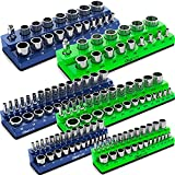 Olsa Tools Magnetic Socket Organizer   6 Piece Socket Holder Set   1/2-inch, 3/8-inch, & 1/4-inch Drive   Metric Blue, SAE Green   Holds 143 Sockets   Professional Quality Tool Organizers