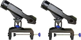 NUZAMAS Set of 2 Fishing Rod Holder Adjustable 360 Degrees Rotatable Side Rails Clamp on Rail 0-14cm Kayak Boat Mounting W...