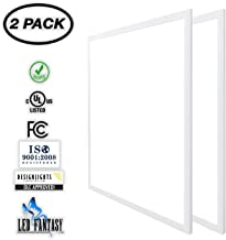 LED FANTASY 2x2 FT LED Panel Dimmable 0-10V, 40W (140W Equivalent), 5000K Daylight White,DLC & UL 2 Pack