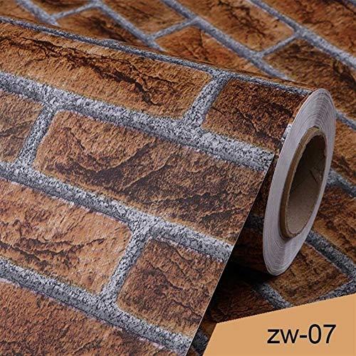 YKWYQ - Papel de pared de vinilo 3D resistente al agua, diseño de ladrillo, Fibra sintética, Zw 07., 3m x 40cm