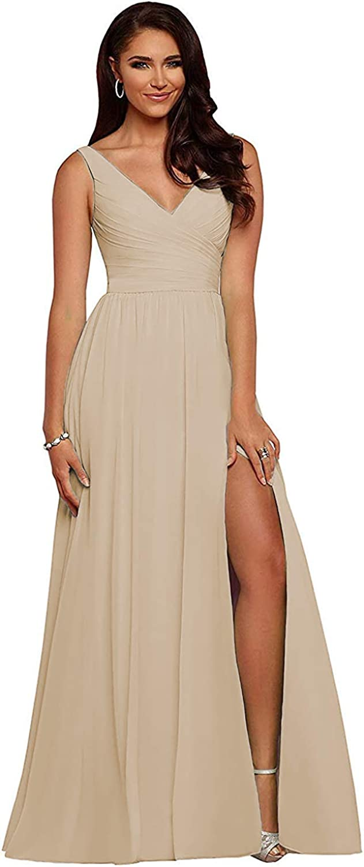 Lidoer Women's Double V-Neck Bridesmaid Dresses Long A-Line with Slit Chiffon Prom Formal Wedding Dress M002