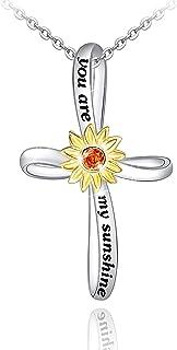 قلادة زهرة عباد الشمس للنساء S925 فضة استرلينية يو آر ماي صن شاين قلادة مجوهرات هدايا للنساء بنات أمي زوجة