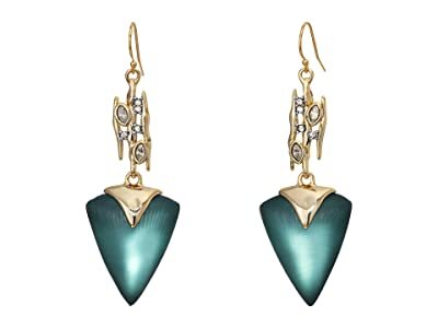 Alexis Bittar Navette Spiked Triangle Drop Wire Earrings (Teal Blue) Earring