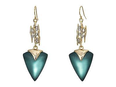 Alexis Bittar Navette Spiked Triangle Drop Wire Earrings (Teal Blue) Earring