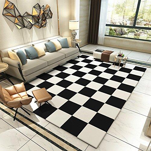 GRENSS Einfache, Moderne, im skandinavischen Stil Schwarze und Weiße geometrische Teppich im Wohnzimmer Couchtisch und das Schlafzimmer Bett Teppich rechteckig Waschen, 120 cm * 160 M, K-17