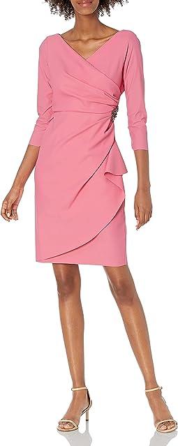 Slimming Short Sheath 3/4 Sleeve Dress With Surplus Neckline
