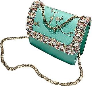 Wultia - Lace Flowers Women Bag 2018 New Handbag High Quality PU Leather Sweet Girl Square Bag Flower Pearl Chain Shoulder Messenger Bag Green