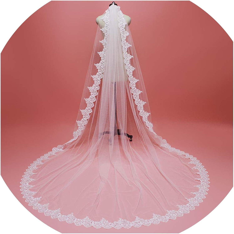 High Quality 3M Lace Edge Bridal Veil with Comb Single Tier 3 M Wedding Veil 2019,Ivory,350cm