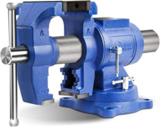 """Forward DT08125A 5-Inch Heavy Duty Bench Vise 360-Degree Swivel Base and Head with Anvil (5"""")"""