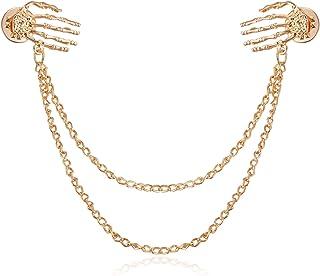 LfyLoveS Skull Collar Pin Gold Tone Necktie Tie Cravat Pin Clip Business Suit Collar Bar Pin Brooch with Chain for Boyfriend Boys Men Friends