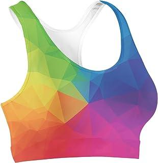 Rainbow Geometric Shapes Sports Bra