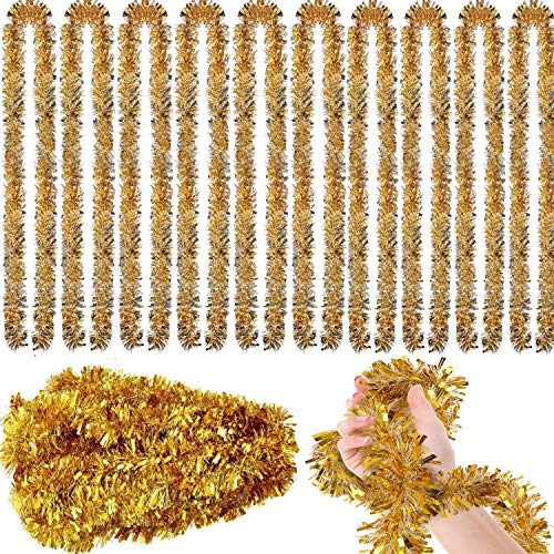 65.6 ft Tinsel Garland Gold,(22 Yards Commercial Length Thick Foil Classic Christmas Decorations for Christmas Tree Decorations X-mas Home Party Decor, 3 Inch Wide