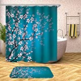 HLYMNB Duschvorhang Cherry Blossoms Shower Curtains Bathroom Home Flower Waterproof Moldproof 3D Thick with Hooks Fashion,180X180Cm(Wxh)