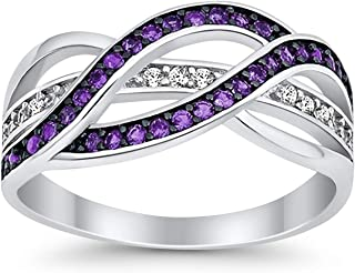 Half Eternity Weave Knot Ring Crisscross Crossover Round CZ 925 Sterling Silver Choose Color