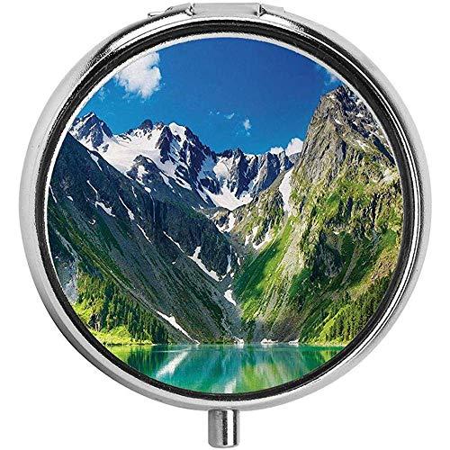 Majes-tic Lake in Altai Bergen Sneeuwpieken Houten Rokken Sky Custom ronde Pill Box Organizer 3 Compartment Medicine Case