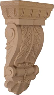 Ekena Millwork COR05X02X09ACLW 5 3/4-Inch W x 2 3/4-Inch D x 9 3/4-Inch H Thin Flowing Acanthus Corbel, Lindenwood