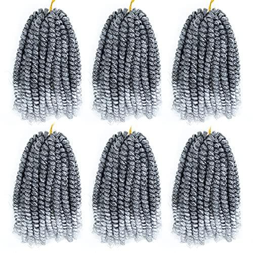 Spring Twist Hair Braiding Hair 6 Packs Passion Twist Hair Spring Twist Crochet Hair 8 Inch(Silver Grey )