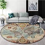 Vintage Modern Flannel Microfiber Non-Slip Machine Round Area Rug,World Map Geography Theme Baby Room Decor Round Carpets Diameter-47