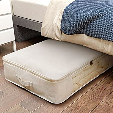 Lifewit Foldable Under Bed Storage Bag Organizer for Comforters, Blankets, Bedding, Duvets, Clothes, Quilts, Pillows, Clothing, Sweaters, Beige