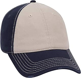 an Ottocap Garment Washed Superior Cotton Twill Distressed Visor Six Panel Dad Hat -Black