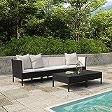 Tidyard Gartenlounge Set Polyrattan Lounge Gartenmöbel-Set mit Eck-Sofa & Tisch, 6-TLG. Schwarz