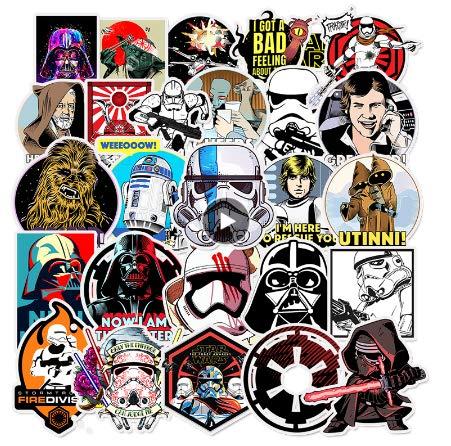 50 Piezas De Pegatinas De Star Wars para Niños DIY Creativo Pegatina De Graffiti para Monopatín Equipaje Portátil Guitarra Nevera Coche Doodle Calcomanía