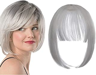 Qunlinta Clip in Bangs Hair Extensions One Piece in Fringe Bangs Hairpiece Synthetic Hair Accessories For Women Silver Grey