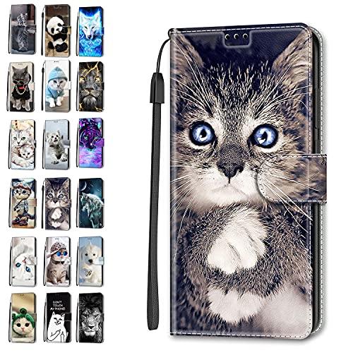 Funda de piel tipo cartera para Xiaomi Redmi Note 10 4G / Note 10S Flip Cover con diseño de animal divertido con ranura para tarjeta de silicona protectora para niñas y niños - Cat 10