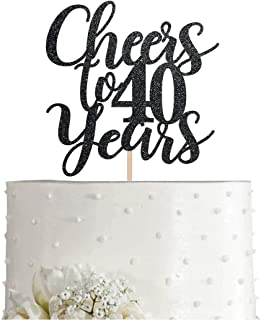 40 Black Glitter Happy 40th Birthday Cake Topper, Cheers to 40 Years Party Cake Topper Decorations, Supplies