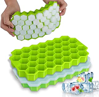 Ice Cube Trays, 2 Pack Silicone Ice Cube Molds with Lid Flexible,74 Cavities Creative Honeycomb Eco-Friendly Cube Tray DIY...