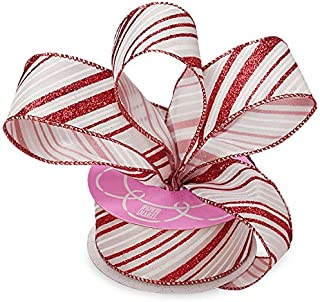 Wired Christmas Ribbon Red Stripes - 1 1/2