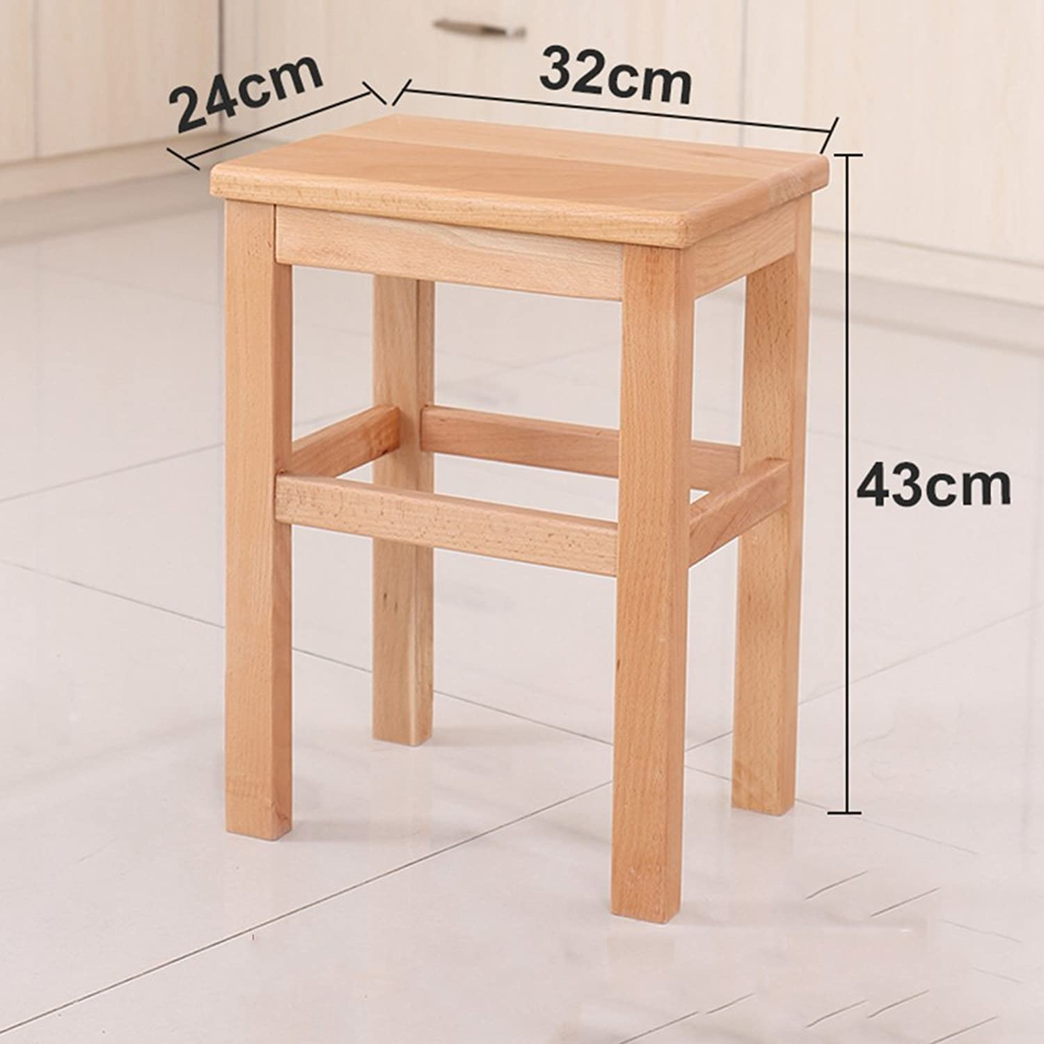 Stool Solid Wood 24  32  43cm 27  37  45cm 27  37  60cm Foyer Living Room Comfortable (color   A, Size   43cm)